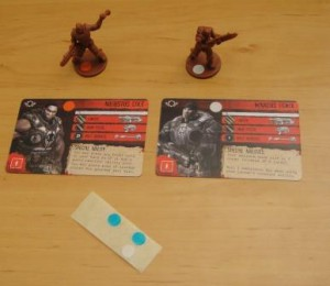 Two of my minis and associated cards, distinguished by color stickers